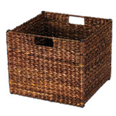 Banana Leaf Storage Bin in Stained Dark Brown Finish, Min Cab Opening: 13''W x 13''D x 11''H