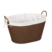 Paper Rope Wicker Oval Laundry Basket with Lining and Handles in Stained Brown, 22-1/4'' W x 15'' D x 14-1/2'' H