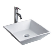 China Luxe Collection- Simplex White Above Counter Bathroom Sink, 16-1/2''W x 16-1/2''D x 5-1/4''H