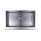 Chef''s Series Commercial Grade 16 Gauge Handcrafted Single-Bowl Undermount Stainless Steel Sink, 33''W x 19''D x 9''H