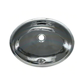 Smooth Oval Undermount Bathroom Basin in Polished Stainless Steel