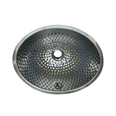 Oval Hammered Textured Metal Undermount Bathroom Basin in Polished Stainless Steel