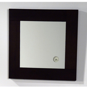 Antonio Miro Square Ebony Wood Framed Mirror with Built-In Analog Clock