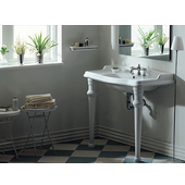Isabella Collection 35-3/8''W Large Rectangular Bathroom Console with Oval Bowl, Single Hole Faucet Drilling and Ceramic Leg Supports, White Finish