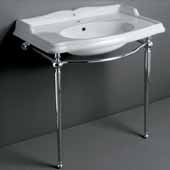 Britannia Large Single Faucet Hole, Rectangular Bathroom Console Sink with Front Towel Bar In White Chrome, 35'' W x 22-3/4'' D x 38'' H