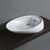 Britannia White, Single Faucet Hole, Oval Above Mount Bathroom Sink Basin, 29-3/4'' W x 18'' D x 6'' H