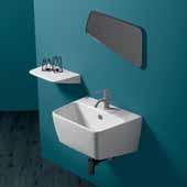 Britannia White Rectangular Single Faucet Hole Wall Mount Bathroom Sink Basin, 23-5/8'' W x 17-1/2'' D x 12-1/4'' H