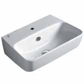 Britannia Single Faucet Hole, White Rectangular Wall Mount Bathroom Sink Basin, 22-3/4'' W x 15-1/4'' D x 6-7/8'' H