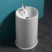 Britannia Freestanding, Cylindrical Shaped Bathroom Sink Basin with Single Faucet Hole In White, 18-1/4'' Diameter x 33'' H