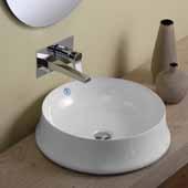 Britannia Round Above Mount Bathroom Basin Sink In White, 19-5/8'' Diameter x 5-1/2'' H