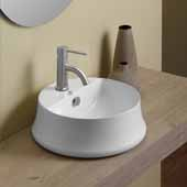 Britannia Round Above Mount Bathroom Basin Sink with Single Faucet Hole In White, 16-5/8'' Diameter x 6-1/4'' H