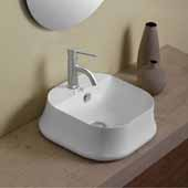 Britannia Square, Above Mount, Bathroom Sink Basin with Single Faucet Hole In White, 16-3/4'' W x 16-3/4'' D x 6-1/4'' H