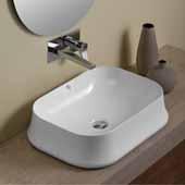 Britannia Above Mount Rectangular Bathroom Sink Basin In White, 24'' W x 17-1/8'' D x 6-1/8'' H