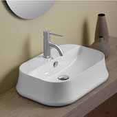 Britannia Rectangular, Above Mount, Bathroom Sink Basin with Single Faucet Hole In White, 24'' W x 17'' D x 6-1/4'' H