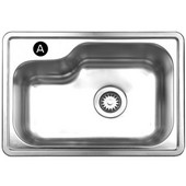 Noah Collection Single Bowl Undermount or Drop-In Sink, 22 1/2''W x 15 7/8'' D, Brushed Stainless Steel, A Hole, Center