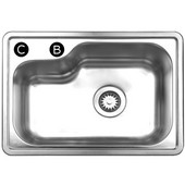 Noah Collection Single Bowl Undermount or Drop-In Sink, 22 1/2''W x 15 7/8'' D, Brushed Stainless Steel, C Hole, 4'' Left of A (Center Hole)