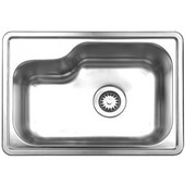 Single Bowl Undermount or Drop-In Sink, 22 1/2''W x 15 7/8'' D, Brushed Stainless Steel, No Hole