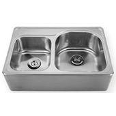 Noah Collection Double Bowl Drop-In Sink with Front-Apron, 33''W x 22''D x 9 1/4'' H, Brushed Stainless Steel, B Hole, 4'' Right of A (Center Hole)