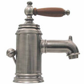 The Pump Single Hole/Lever Bathroom Faucet with Cherry Wood Handle in Brushed Nickel  (Shown in Pewter)