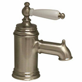 The Pump Single Hole/Lever Bathroom Sink Faucet with Porcelain Handle in Brushed Nickel