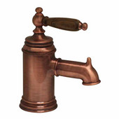 The Pump Single Hole/Lever Bathroom Faucet with Cherry Wood Handle in Old Copper  (Shown in Pewter)