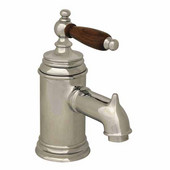 The Pump Single Hole/Lever Bathroom Faucet with Cherry Wood Handle in Polished Chrome (Shown in Pewter)