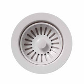 - White Basket Strainer with Plunger Mechanism for  Sinks