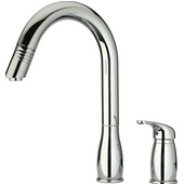 Two Hole Kitchen Faucet w/ Pull-Out Spray Head in Polished Chrome