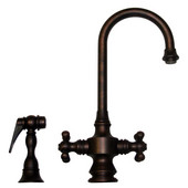 Vintage III Gooseneck Cross Handle Faucet w/ Side Spray, Mahogany Bronze