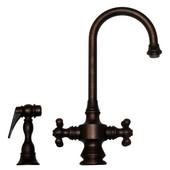 Vintage III Gooseneck Cross Handle Faucet w/ Side Spray, Mahogany Bronze