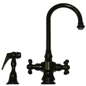 Vintage III Gooseneck Cross Handle Faucet w/ Side Spray, Oil Rubbed Bronze