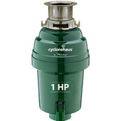 Cyclonehaus High efficiency garbage disposal with solid brass flange and quite operation, 1 HP, Brushed Nickel Finish