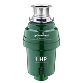 Cyclonehaus High efficiency garbage disposal with solid brass flange and quite operation, 1 HP, Polished Chrome Finish