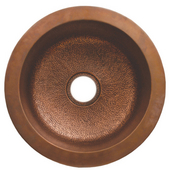 Copperhaus Round Drop-In/ Undermount Sink w/ Hammered Texture, Hammered Bronze, 18-3/8''Dia x 8''H