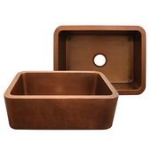Copperhaus Rectangular Undermount Sink w/ Apron, Smooth Copper, 25''W x 19''D x 10-1/4''H