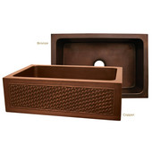 Copperhaus Collection Rectangular Undermount Sink w/ Basket Weave Apron, 30''W x 20''D x 10-1/4''H, Smooth Bronze Finish
