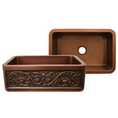 Rectangular Undermount Sink w/ Sun Flower Design, Smooth Copper