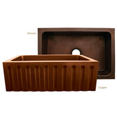 Copperhaus Collection Rectangular Undermount Sink w/ Fluted Front Apron, 30''W x 20''D x 10-1/4''H, Smooth Copper Finish