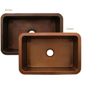 Copperhaus Collection Rectangular Undermount Sink, 30''W x 20''D x 10''H, Smooth Bronze Finish