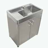 Pearlhaus Brushed Stainless Steel Double Door, Freestanding Cabinet with Sink, 33'' W x 20'' D x 34'' H