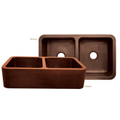 Copperhaus Collection Rectangular Double Bowl Undermount Sink, Hammered Copper