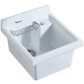 Vitreous China 21''W single bowl drop-in sink with wire basket and offset drain, White Finish