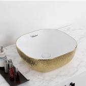 Isabella Plus Collection Square Above Mount Vitreous China Basin with an Embossed Exterior, Smooth Interior, & Center Drain, White/Gold