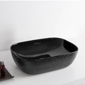Isabella Plus Collection Rectangular Above Mount Vitreous China Basin with an Embossed Exterior, Smooth Interior, & Center Drain, Black