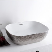 Isabella Plus Collection Rectangular Above Mount Vitreous China Basin with an Embossed  Exterior, Smooth Interior, & Center Drain, White/Silver