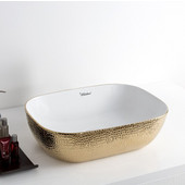 Isabella Plus Collection Rectangular Above Mount Vitreous China Basin with an Embossed Exterior, Smooth Interior, & Center Drain, White/Gold