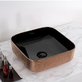 Isabella Plus Collection Square Above Mount Vitreous China Basin with an Embossed Exterior, Smooth Interior, & Center Drain, Black/Rose Gold