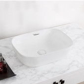 Isabella Plus Collection Rectangular Above Mount Vitreous China Basin with Center Drain, White