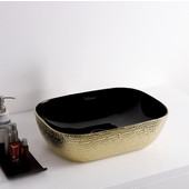 Isabella Plus Collection Rectangular Above Mount Vitreous China Basin with an Embossed Exterior, Smooth Interior, & Center Drain, Black/Gold