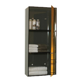 - Vertical Wall Mount Storage Unit w/Four Shelves, Smoked Gray Glass/Mirror